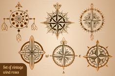Set of vintage wind roses, compasses by pp_scout @creativework247