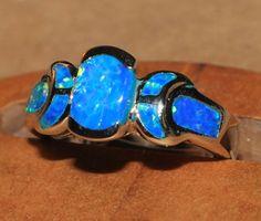 blue fire opal ring Gemstone silver jewelry Sz 8 modern engagement wedding H4E