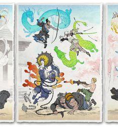 'Fallen Blossoms, New Life' Giclee Print - Ukiyo-e Heroes Japanese Drawings, Japanese Art, Old Men With Tattoos, Samurai Artwork, Overwatch Comic, Modern Asian, Japanese Games, Great Backgrounds, Cool Cartoons