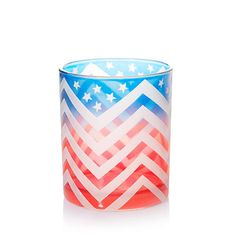 Our star-spangled glass Samplers® Votive Candle holder makes patriotic decorating so easy and fun! A great addition to the picnic table or in a dramatic grouping inside your home.
