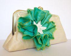 Mint Green Mermaid and Starfish Inspired Wedding Clutch by jandem. Bridal Clutch, Wedding Clutch, Wedding Dress, Spring Purses, Purple Interior, Silver Clutch, Yellow Accents, Free Silver, Mint Green