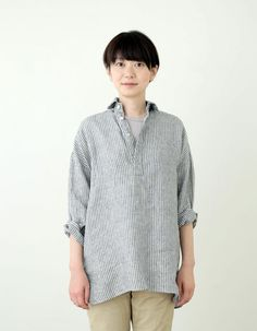 fogの春夏発売した。ひさびさに展開される襟付きシャツ。<テリー シャツ ネイビーホワイトストライプ