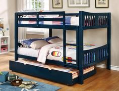 """Cameron collection transitional style full over full blue finish wood bunk bed set. Bunk Bed measures 81 3/8"""" L x 58"""" W x 60"""" H. Twin trundle available separately at additional cost and measures 74 1/4"""" x 40 1/2"""" x 10 3/4"""" H. Some assembly required."""