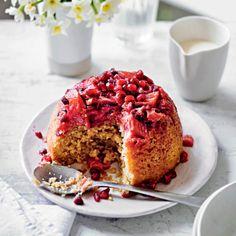 Rhubarb, pomegranate & ginger sponge pudding