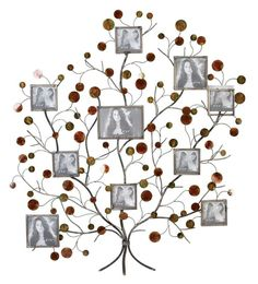Aspire Home Accents 13249 Metal Family Tree Picture Frame Wall Decor Silver / Brown Home Decor Wall Decor Wall Decor