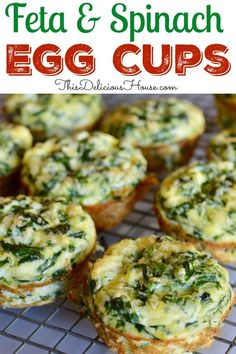 Super healthy and make-ahead breakfast, Spinach and Feta Eggs Cups are portable, full of protein, and so easy to make! #eggcups #spincheggcups Breakfast Cups, Breakfast Recipes, Breakfast Spinach, Breakfast Ideas, Breakfast Casserole, Healthy Make Ahead Breakfast, Make Ahead Meals, Savory Breakfast, Breakfast Cookies