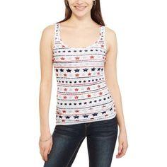 Faded Glory Women's Americana Print Essential Rib Tank Top, Size: XXL, White