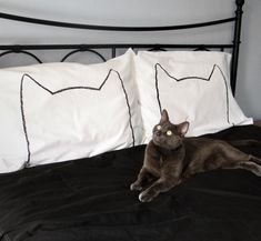 His and Hers Cat Nap Pillow cases King Size Set of 2, via Etsy.  Cute charcoal transfer for minimalist design.