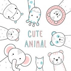 Cute thin line animals cartoon doodle pastel Premium Vector Art Drawings For Kids, Doodle Drawings, Easy Drawings, Doodle Art, Animal Doodles, Art Sketchbook, Fashion Sketchbook, Cute Doodles, Cute Cartoon Wallpapers