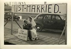 just married banner, 1940