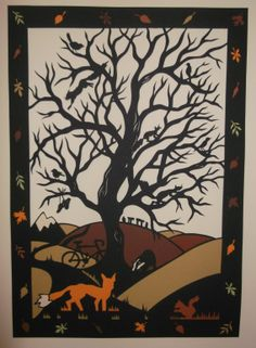 'Woodland' papercut commission in layers by Jen Fry