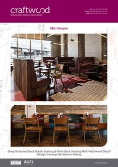#gbk #restaurant #bespoke #banquette #seating #deepbuttoned #plainback #patchwork #detail #craftwood #leather