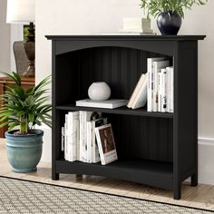2 Tier Office Bookcase Black Glossy Finish Wooden Storage Living Room Furniture for sale online Black Bookcase, Cube Bookcase, Etagere Bookcase, Bookcases, Small Bookcase, Wood Shelves, Storage Shelves, Storage Spaces, Living Room Furniture Sale