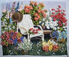 Wonderful Ribbon Embroidery Flowers by Hand Ideas. Enchanting Ribbon Embroidery Flowers by Hand Ideas. Hand Embroidery Stitches, Silk Ribbon Embroidery, Embroidery Art, Embroidery Designs, Thread Painting, Ribbon Art, Sewing, Crafts, Garden
