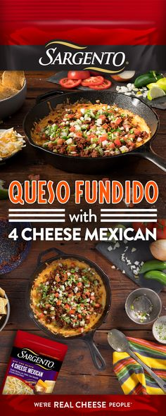 Queso always taste better with fresh-off-the-block Sargento® shredded cheese. Bring on the Queso Fundido! Chinese Food, Dip Recipes, Mexican Food Recipes, Low Carb Recipes, Cooking Recipes, Ethnic Recipes, Summer Recipes, Appetizer Dips, Appetizer Recipes