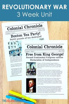 Revolutionary War Lesson Plans for Grade and Middle School - This 3 week Revolutionary War history unit is packed full of fun interactive lesson and activities! 6th Grade Social Studies, Teaching Social Studies, Teaching Us History, History Class, History Education, History Projects, 5th Grade Activities, Teacher Blogs, Middle School