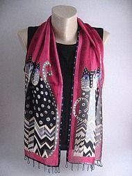 Black and raspberry silk scarf, Laurel Burch