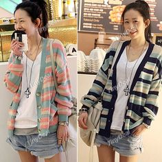 Trendy V Neck Cardigan Knitwear Knitted Sweater with Long Sleeves   Stripe Patterns for Girl Woman NDD-56327