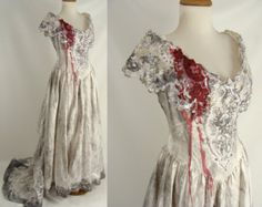 bloody and tattered wedding dress