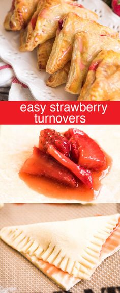 Easy Strawberry Turnovers / Quick and easy strawberry turnovers made with puff pastry and stuffed with fresh strawberry filling. Drizzle with glaze for a beautiful spring brunch recipe. via Tastes of Lizzy T