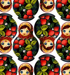 """Strawberry nesting doll"" pattern design by Riku Ounaslehto, 2016"