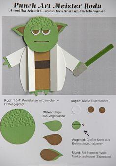 Yoda Teil 1 Kreativ-Stanz Punch Art Anleitung Tutorial Stampin' Up! Star Wars Meister Yoda #punchart #starwars http://kreativstanz.bastelblogs.de/
