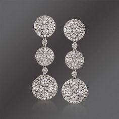 Gregg Ruth 2.94 ct. t.w. Diamond Circle Drop Earrings in 18kt White Gold