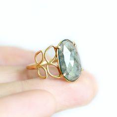 Moss Aquamarine Filigree Ring in 14k yellow gold, Katie Carder Fine Jewelry