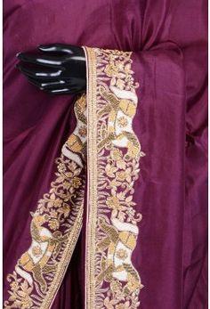 Pure Handloom Silk Embroidery-Plum Purple-WJ1961