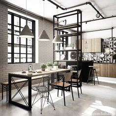 #loft #loft #loft kitchen industrial  brick wall