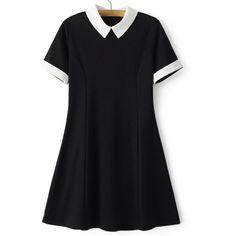 SheIn(sheinside) Black Lapel Zipper Minimalist Slim Dress ($19) ❤ liked on Polyvore featuring dresses, black, embellished dress, short sleeve skater dress, pleated dress, pleated skater dress and short skater dress