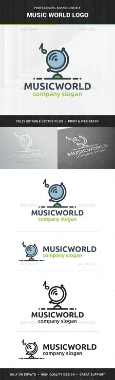 Music World Logo Template — Transparent PNG #market #label • Available here → https://graphicriver.net/item/music-world-logo-template/15391508?ref=pxcr