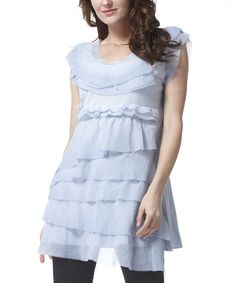Look what I found on #zulily! Blue Ruffle Sleeveless Tunic by  #zulilyfinds