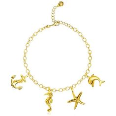 Oceano - Marine Charms Beach Gold Anklet