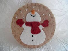 Primitive Snowman Ornament Felt Red Scarf Mittens Penny Rug
