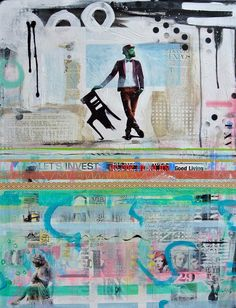 'Mister', 70x90cm, acryl en mixed media op doek. Janet Edens kunst, ook opdrachten info@janetedens.nl