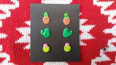 Cactus cacti earring stud set / potted balloon cacti / succulent / south western style / Unique hand made girl's gifts for under 10 dollars