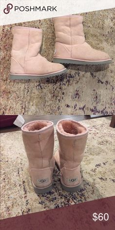Light pink ugg shorty boots. Size 6 Super cute and comfy ugg boots! Size 6. Light pink UGG Shoes Ankle Boots & Booties