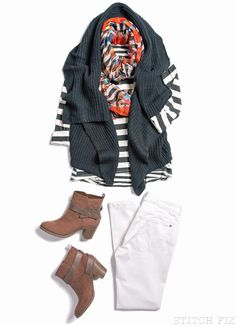 Kaleigh Ankle-Biter Skinny Jean, Cicely Mixed-Striped Top, Halden Draped Sleeveless Cardigan, Bailey Floral-Print Infinity Scarf.............love the top & cardigan!!