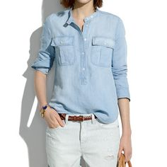 Women& Madewell Chambray Popover Long Sleeve Button Down Salt Lake Blue M-L Shirts & Tops, Chambray, Leather Jeans, Denim Trends, Who What Wear, Madewell, Button Up Shirts, Fashion Outfits, My Style