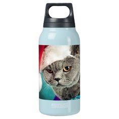 Gray cat christmas - Christmas cat -kitten cat Insulated Water Bottle - cat cats kitten kitty pet love pussy