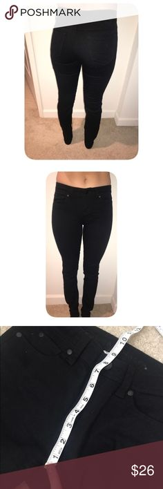 "Black Mid High Rise Skinny Jeans Says size 5 but fits like size 1. I'm size 1 in hollister and you can see they fit nice and tight. Rise is 8.5"" so like mid rise and waistband measures 28"" (measure like an inch below the belly button to make sure it's around 27-29"") Only worn once or twice, they are in great condition with no fading. Charlotte Russe called them jeggings which I guess they're a little stretchy but not super stretchy, more like jeans to me. Blue Asphalt Jeans Skinny"
