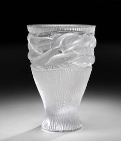 Lalique Crystal OCEANIA VASE DOLPHINS MIB NEW # 12566  in Pottery & Glass, Glass, Art Glass, French, Lalique | eBay