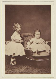 Princess Victoria and Princess Elizabeth of Hesse, 1866 [in Portraits of Royal Children Vol.10 1866-67]   Royal Collection Trust
