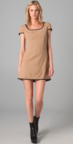 #RachelZoe cap sleeve dress in tan, $330.05