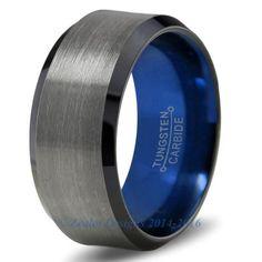 Blue Chromacolor Black Gunmetal Beveled Tungsten Ring