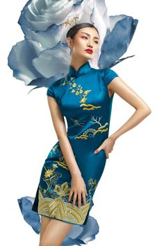 Blue and gold qipao