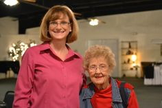 """Volunteers arrived at 11:00 sharp and ready for a """"boot-scootin"""" (as indicated in invitation) good time! Brenda Schmachtenberger, San Antonio OASIS Executive Director, seen here with Dolly Hudson, an OASIS volunteer of 22 years!"""
