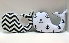 Modern baby Chevron WHALE pillow - nautical nursery decor navy white plushie