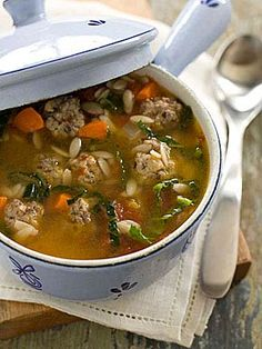 "There are endless variations on this soup, but the main elements are meatballs and greens. In our recipe, we make meatballs of ground beef and pork, and we add plenty of fresh herbs and kale for the green component. While the name indicates that the soup might be served at an Italian wedding, it is actually a mistranslation of minestra maritata, which refers to the ""marriage"" of greens and meat in the soup."